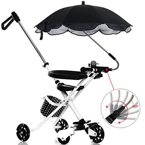 Ombrelle poussette universelle anti UV Parasol Bébé Confort, Parapluie landau Auvent avec support Amovible (noir)