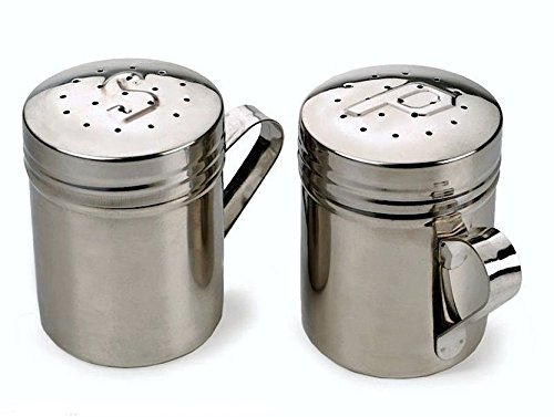 18/8 Stainless Steel Salt & Pepper Stovetop Grill Size Shakers Set of 2 NEW