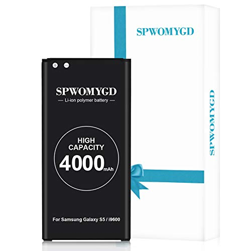 4000mAh SPWOMYGD Super Galaxy S5 Battery Compatible with Li-ion Samsung Galaxy S5 Battery Replacement at&TG900A,G900F,G900H,G900R4,I9600,SM-G900V,SM-G900P,SM-G900T,EB-BG900BBC