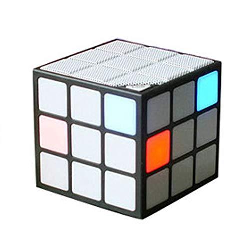 H&J Mini Altavoz Bluetooth con Forma De Cubo De Rubik, Altavoz De Luz Nocturna con Iluminación LED De Colores, Soporte para Tarjeta TF para El Hogar Y La Oficina (Sin TF), Negro