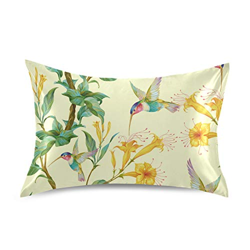 Funda de almohada de satén F17 con diseño de colibrí y flores de animales, suave y transpirable, funda de cojín para la piel del cabello, decoración del sueño, 50,8 x 76,2 cm