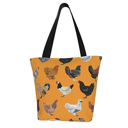 Personalisierte Leinen-Einkaufstasche, Huhn-Rassen, Huhn, Bauernhof, Vogel Vögel, Orange, waschbare Handtasche, Umhängetasche, Einkaufstasche für Frauen