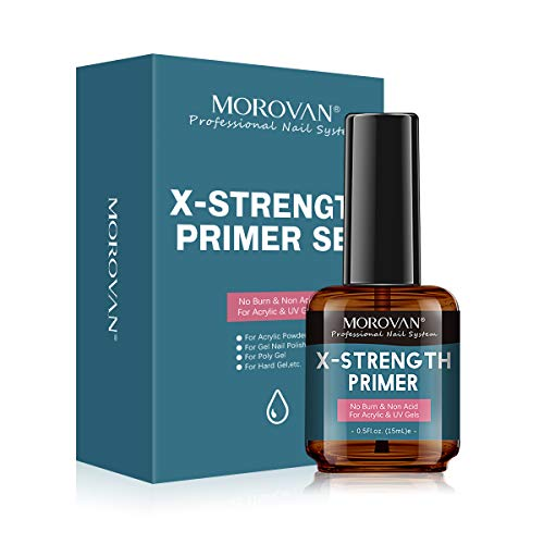 No Burn Acid Free X-strength Primer,Professional Natural Nail Bond Primer,Superior Bonding Non Acid For Acrylic Powder And UV Gels Poly Gel Nail Polish Dual Use 0.5OZ