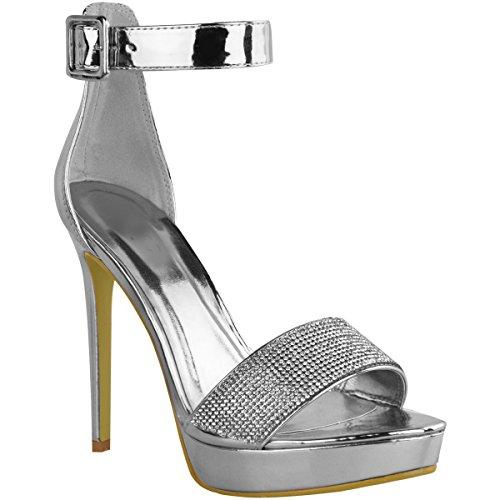 Fashion Thirsty Mujer Brillante pedrería Plataformas Zapatos de Tacón Tacones Altos Fiesta Sandalias Números