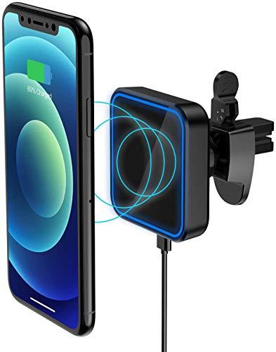 Hoidokly Cargador de Coche Inalámbrico Magnético, Soporte de Carga para Coche MagSafe Compatible con iPhone 12/12 Pro/12 mini/12 Pro MAX, Fijación y Alineación Magnética, Abrazadera de Seguridad