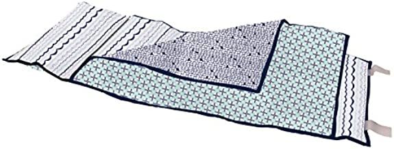 Bacati - 100% Cotton Percale Soft Breathable Fabrics Nap Mat with Pillow for Toddler Boys Naptime, Measures 50 x 20 x 1.5 Inches, Ideal for Daycare and Preschool, Sleepovers (Tribal Mint/Navy)