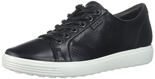 ECCO Women's Women's ECCO Soft Perforated Fashion Sneaker, Dark Black Perforated, 39 EU/8-8.5 M US