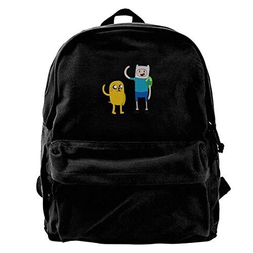 NJIASGFUI Canvas Rucksack Adventure Time Rucksack Gym Wandern Laptop Schultertasche Daypack für Herren Damen