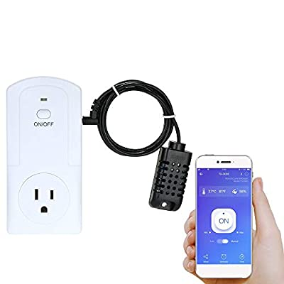 Decdeal WiFi Smart Plug Socket, Mini Plug Socket Wireless APP Remote Control Power Socket Support Energy Monitor Timing Switch Compatible with Amazon Alexa Google Home IFTTT