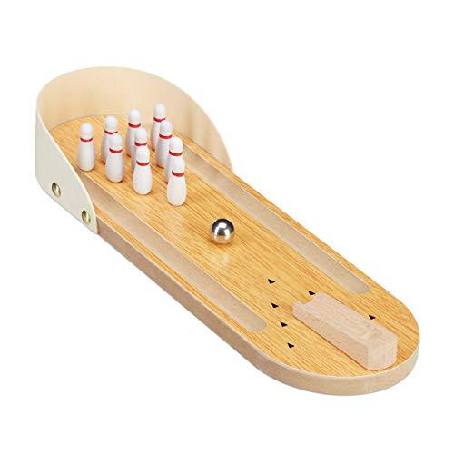 Relaxdays 10024377, Natur Tischbowling, Mini Bowlingbahn, Set mit 10 Pins, Geschicklichkeitsspiel, Erwachsene & Kinder ab 3 J