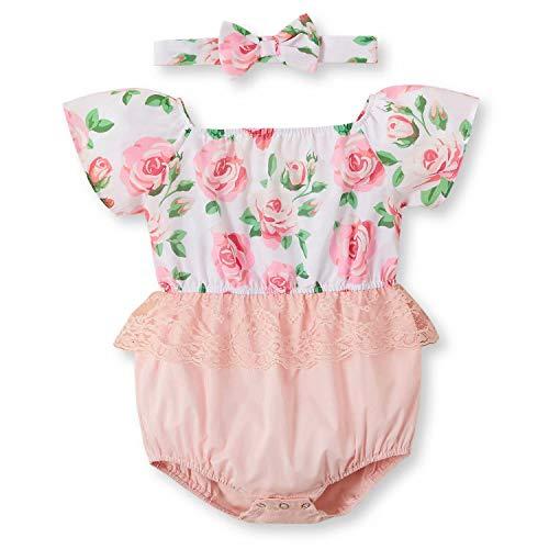 IFFEI Baby Meisjes Romper Korte mouw Bodysuit Bloem Gedrukt Kant Jumpsuit met Hoofdband Outfits voor Baby Peuter Meisjes