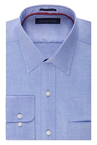 Tommy Hilfiger Men's Non Iron Regular Fit Point Collar Dress Shirt, Blue, 15.5' Neck 32'-33' Sleeve