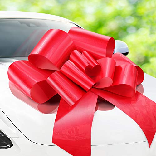 Zoe Deco Big Car Bow (Red, 30 inch), Gift Bows, Giant Bow for Car, Birthday Bow, Huge Car Bow, Car Bows, Big Red Bow, Bows for Gifts, Christmas Bows for Cars, Big Gift Bow, Party Bow