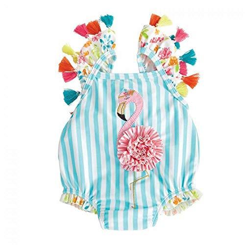 Traje de baño de flamenco para niños y niñas, traje de baño de playa adorable, borla floral de una pieza, traje de princesa