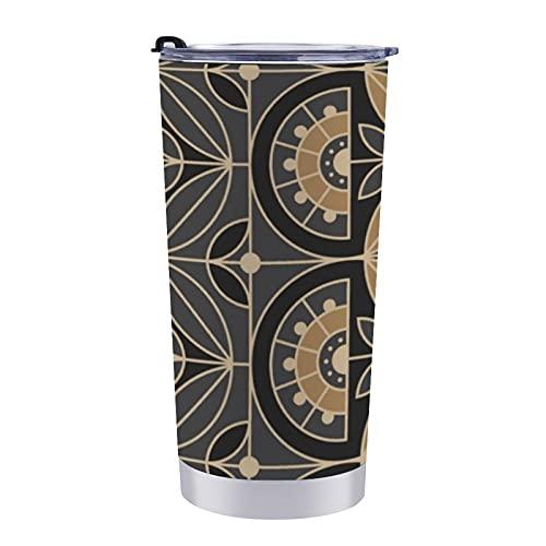 Kaffeetasse, Art-Deco-Fliesen-Blumenmuster, grauer und sandfarbener Reisebecher, Edelstahl-Thermobecher für heiße Kaffee, Tee und kalte Getränke