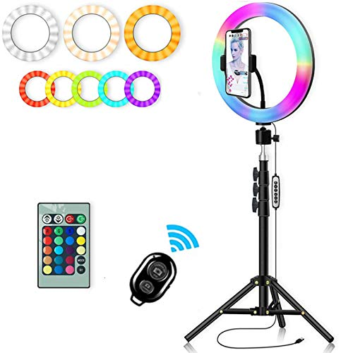 LAHappy 10 inch Ring Light Tripod with Remote for YouTube Video, Dimmable LED Ring Light 3 Color 10 Brightness RGB Circle Light Photo Video LED Lighting Kit