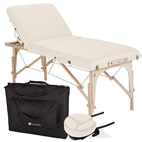 """EARTHLITE Portable Massage Table Package AVALON TILT – Foldable Treatment Table with Tilt Option, Reiki Endplate, Premium Flex-Rest Face Cradle & Strata Cushion, Carry Case (30""""x73"""") , Vanilla Creme"""