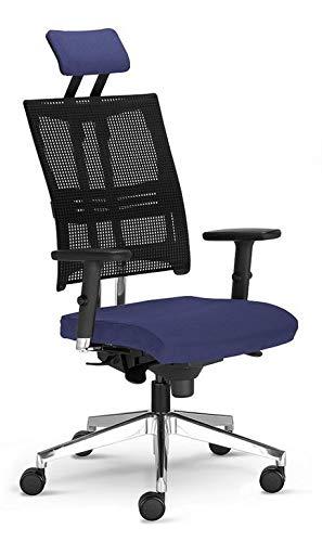 Testsieger Stiftung Warentest Bürostuhl Net Motion mit 3D Armlehnen und Kopfstütze Blau ergonomischer Drehstuhl von Nowy Styl