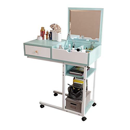 Tabelle Mobiler Schminktisch In Zwei Richtungen mit Schublade erhältlich Diverse Aufbewahrung Nachttisch Mobiler Multifunktions-Beistelltisch for Schlafzimmer und Wohnzimmer (Color : Blue)