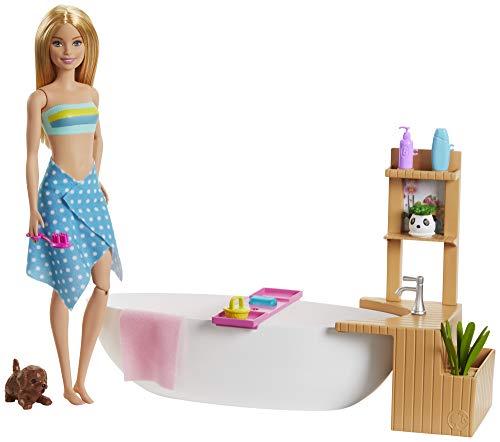 Barbie, Relaks W Kąpieli Zestaw Do Zabawy + Lalka Blondynka, Wanna, Szczeniaczek I Akcesoria GJN32