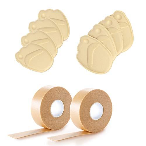 KAKOO 2 Rolle Druckschutz Schaum Pflaster Tape Blasenpflaster Fußabsatz Klebeband mit 8 Vorfuß Einlegesohlen für High Heel verhindert Blasenbildung