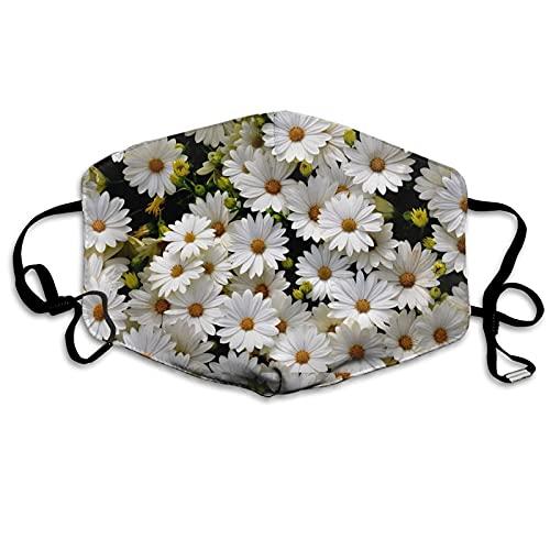 Máscara a prueba de polvo Daisy hecha a mano, lavable, reutilizable, con bolsa de filtro de línea de nariz, pendientes ajustables, máscara de tela de 3 capas para mujeres y hombres