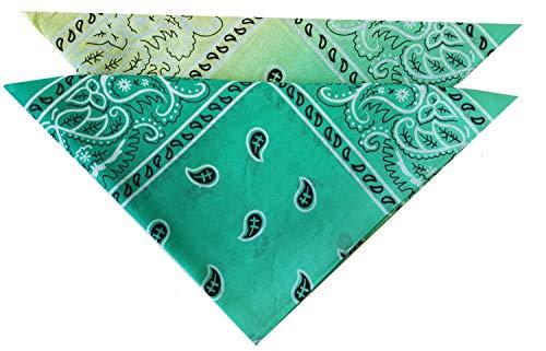 Libetui Set 2 Unisex Badana Halstücher Badanas aus 100% Baumwolle Gesichtstuch für Damen Herren Kinder Mund Nase Abdeckung Größe ca. 53x53cm Farbe Grün Gelb