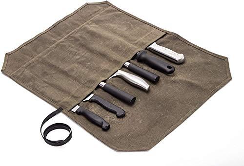 Gewachstes Canvas-Messer-Rolltasche mit 6 Schlitzen für Messer und Besteck