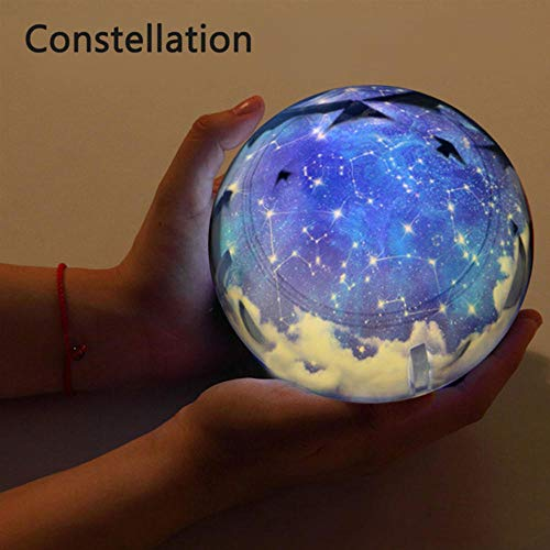 Zshhy Starry Sky Night Light Planet Magic Projector Earth Universe LED Lamp Colorful Rotate Flashing Star Kids Baby Christmas Gift Size: 5.1 x 4.7 inches-Not_Rotate_Constellation