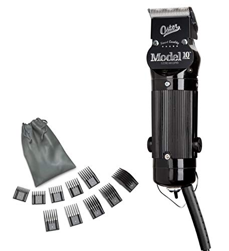 Oster Model 10 Classic Professional Barber Salon Pro Hair Grooming Clipper with Extra Blade & 10 Piece Comb Guide Set, 12 Piece Set
