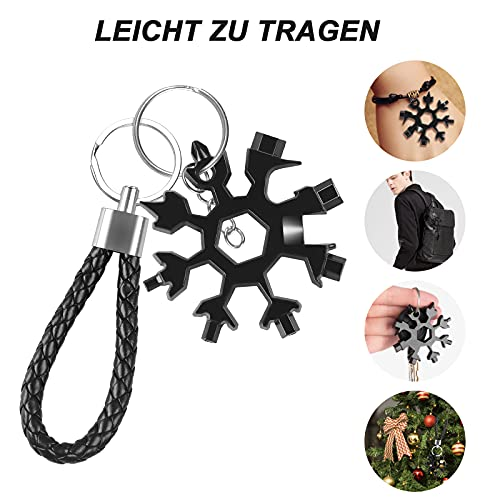 Snowflake Multi Tool,18-in-1 Stainless Steel Snowflake Multi Tool with Keychain and Carabiner, Daily Handy Tool for Outdoor Travel Camping Adventure (Black)