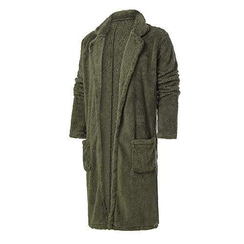 KPILP Men Langjacke Lose Windjacke Warme Übergröße Dicke Mode Plüsch Strickjacke Lange Pelzige Doppelseitige Mantel Tops Blusen Herbst Winter Outwear (Armeegrün,EU-56/CN-XL)