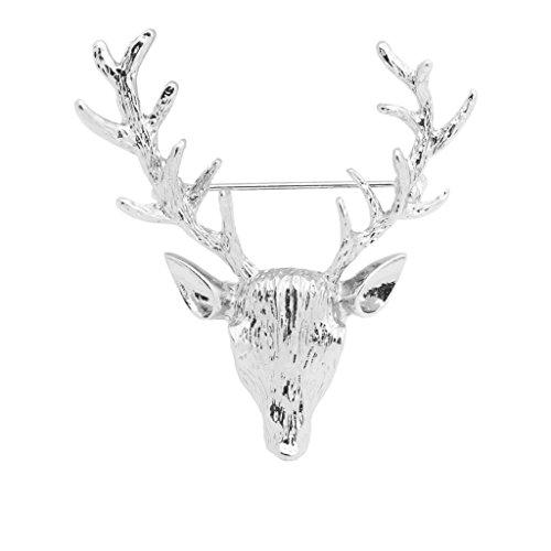 Harilla Broche de Compromiso de Boda con Forma de Ciervo de Navidad de Plata de Moda Vintage