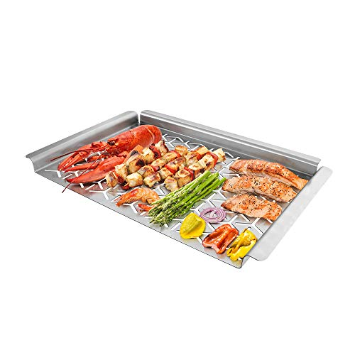 Unicook BBQ Grill Topper, Warp-Free Stainless Steel Grilling Pan, Heavy Duty Grill Basket, Perfect Cooking Tray for Delicate Items Like Vegetable Seafood and Fruit, Rectangular 16x11inch