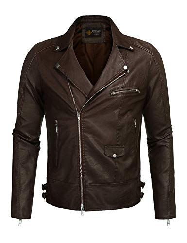 COOFANDY Men's Police Style PU Leather Motorcycle Zipper Biker Jacket, Coffee, Large
