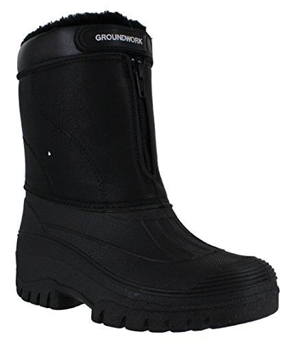 Groundwork LS90 Mens Stable Yard Country Waterproof Winter Snow Front Zip Boots UK 9 Black