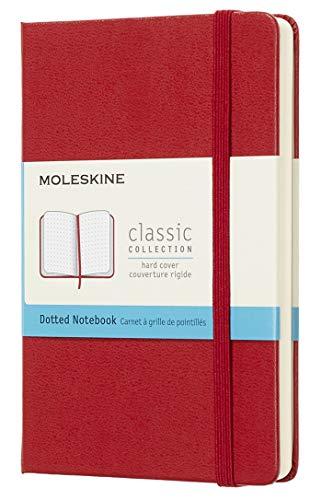 Moleskine Classic Notebook, Taccuino con Pagine Puntinate, Copertina Rigida e Chiusura ad Elastico, Formato Pocket 9 x 14 cm, Colore Rosso Scarlatto, 192 Pagine
