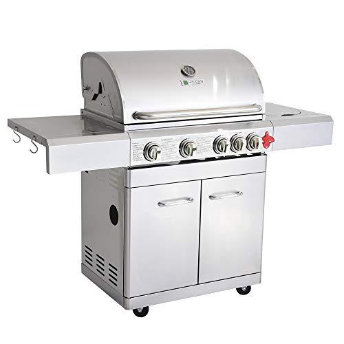 GREADEN BBQ Grill Barbecue À Gaz INOX PHÉNIX - 4 BRÛLEURS+1 FEU LATÉRAL et Thermomètre,...