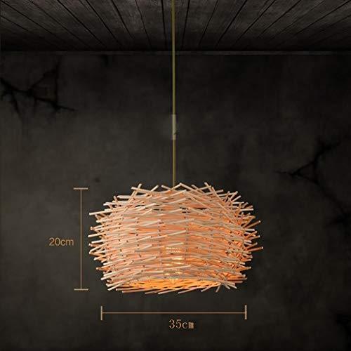 QIDOFAN Las luces del techo Colgante de la lámpara de las lámparas creativas Restaurante Bar Rattan luces decorativas de bambú Bird Cafe Nido Se enciende la luz de techo, 35cm Luces (Color : 35cm)