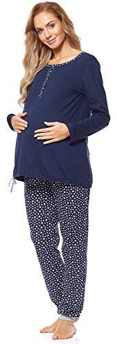Be Mammy Pijama Premamá Dos Piezas Lactancia BE20-247(Azul Marino/Estrellas, XL)