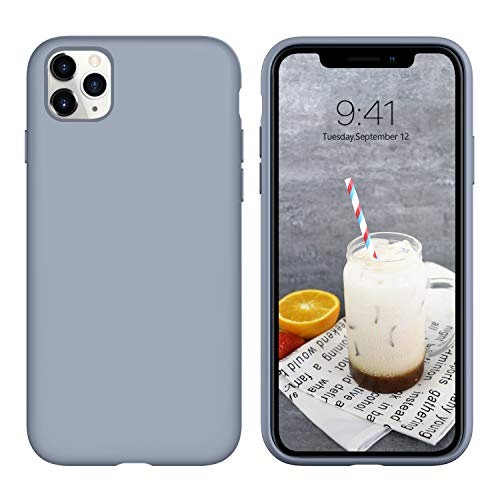 iPhone 11 Pro Max Case 2019, DUEDUE Liquid Silicone Soft Gel Rubber Slim Cover with Microfiber Cloth Lining Cushion Shockproof Full Body Protective Case for iPhone 11 Pro Max 6.5' 2019, Lavender Grey