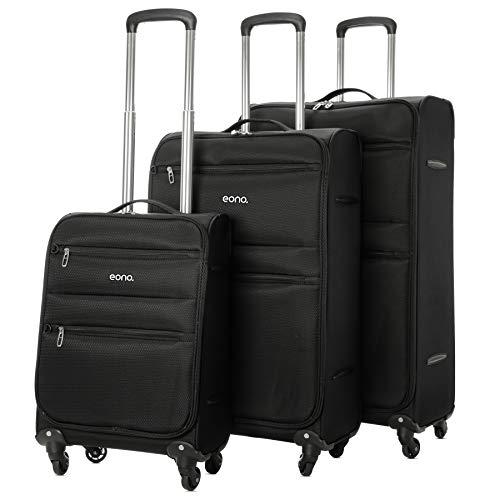 Eono by Amazon - Ultraleichter Reisetrolley Koffer mit 4 Rädern, 55cm Handgepäck + 72cm Mittel + 81cm großes Reisegepäck, 3-teiliges Gepäckset, Schwarz