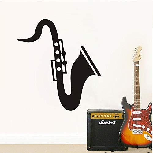 jiushizq wasserdichte Tapete Saxophon Lustige Wandtattoos Schlafzimmer Kopfteil Dekorative Musikinstrument Vinyl Wandaufkleber Abnehmbare Schwarz 58 cm X 64 cm