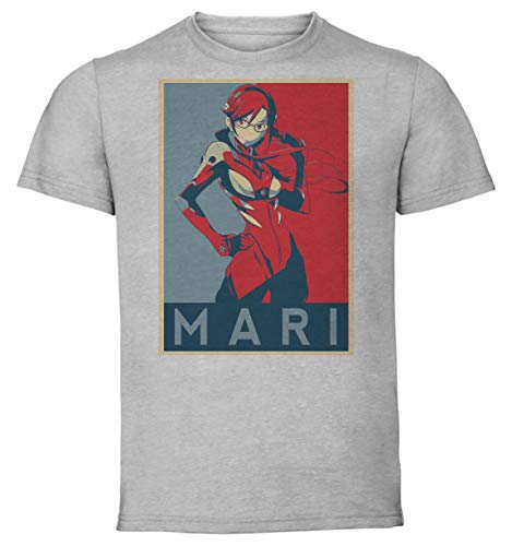 T-Shirt Unisex - Color Gray - Propaganda - Neon Genesis Evangelion - Mari Illustrious Makinami Taglia Medium
