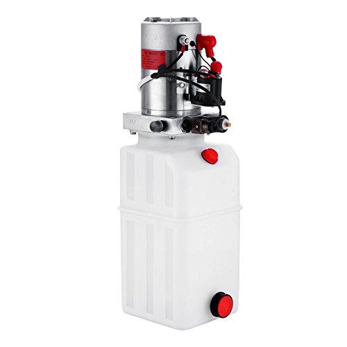 Guellin Bomba Hidráulica de Acción Simple 12V Bomba Hidráulica con Tanque de Combustible Plástico Hydraulic Pump para Elevación de Vagón Remolque Volquete (8L)