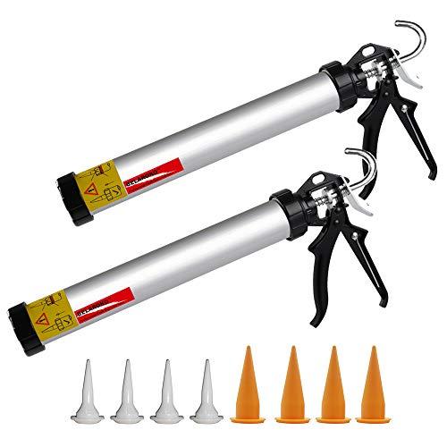 BELAROKO Sausage Caulking Gun 20 oz Manual Sausage/Cartridge/Bulk Tube Caulk Gun 600ml, 18:1 Trust Radio Rotating Aluminum Barrel with Cones Nozzles, 2 Pack (20-ounce(600ml))