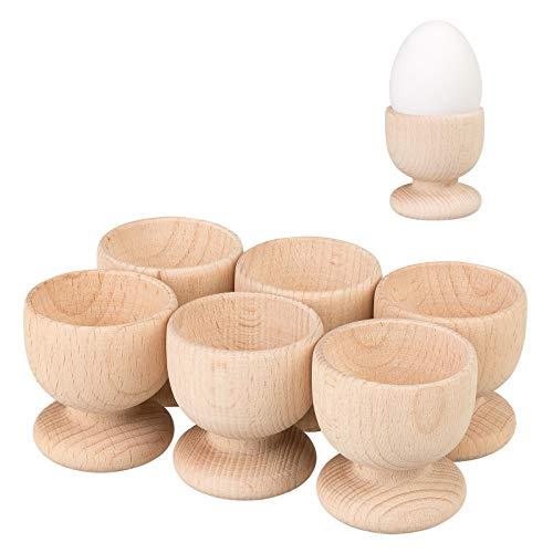 Smart Planet 6er Set Eierbecher aus Holz dekorativ für den Frühstückstisch Eier Becher aus natürlichem Buchenholz