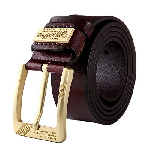 PengGengA Hombres Cinturón De Cuero Correa Cinturones De Piel Diseñado Para Caballero Rojo 115
