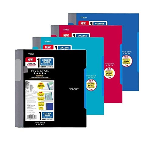 Five Star Advance Spiral Notebook-Standard Size, 1 Subject, 100 College-Ruled sheets, 11 x 8.5 Inch Sheet Size, Assorted Colors, 4 Pack (06322)