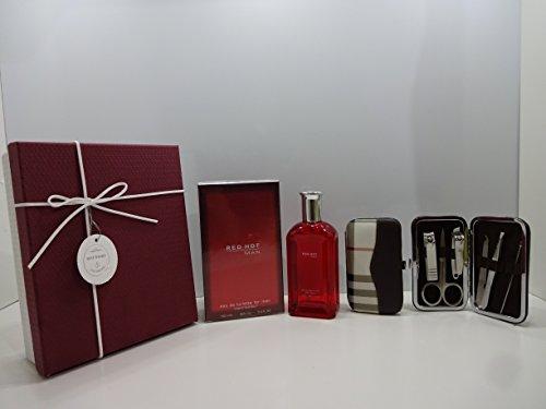 Boîte cadeau de luxe pour homme – Red Hot Man 100 ml Eau de toilette pour homme + 7 CS en acier inoxydable Soin des ongles personnelles Manucure Kit dans une boîte cadeau. 042.